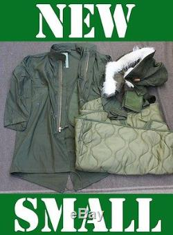 New Small Us Military Fishtail Parka Jacket Army M65 Extreme Cold Genuine Od Nos