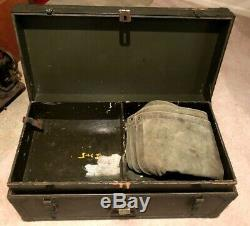 ORIGINAL ARMY TRUNK 1948 MILITARY FOOT LOCKER 32x16 PULL OUT TRAY WOOD METAL USA