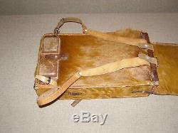 Original Swiss Army Cowhide Leather Backpack Rucksack Military Vintage