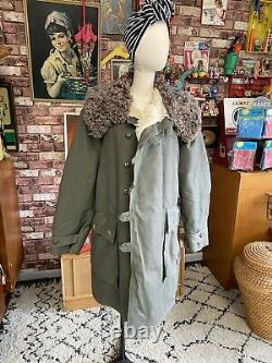 Original Trench Coat Military Soviet Army Bekesha Swedish/Russian Sheepskin USSR