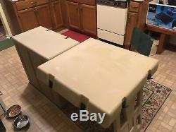 PELICAN HARDIGG PORTABLE MILITARY FIELD DESK USGI ARMY TABLE TAN With CASTERS