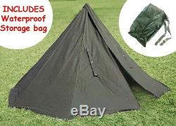 POLISH GREEN ARMY NOS MILITARY LAAVU TENT 2 PERSON Teepee Size 3 + STORAGE BAG