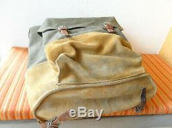 Perfect Vintage Swiss Army Military Backpack Rucksack 1966 CH Sea Canvas Leather