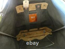 Perfect Vintage Swiss Army Military Backpack Rucksack 1972 CH Sea Canvas Leather