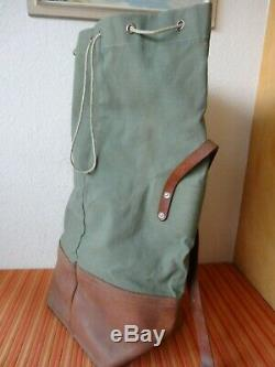 Perfect vintage Swiss Army Military Sea bag backpack Canvas Leather Seesack 1968