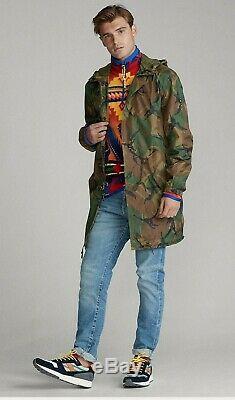 Polo Ralph Lauren Men Hooded Military Army Surplus Camo Marsh Rain Coat Jacket