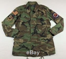 Polo Ralph Lauren Military Army Camo American Flag Skull Bomb Field Jacket Patch
