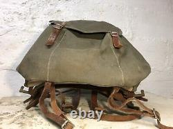 RARE VTG 1940s WW2 Swedish Army Military Framed Canvas Leather Backpack Ruck