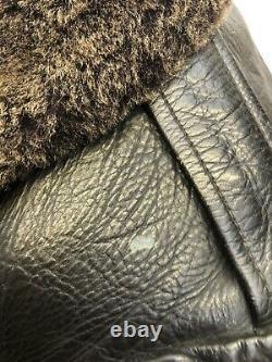 Rare Vintage Swedish Leather Sheepskin Military Coat 1940s WW2