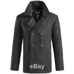 Surplus US Navy Pea Coat Classic Style Warm Mens Army Reefer Jacket Wool Black