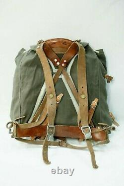 Swedish Army Military Framed Canvas Leather Backpack Ruck