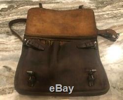 Swiss Army Leather Military Horizontal Saddlebag Messenger Bag 1940