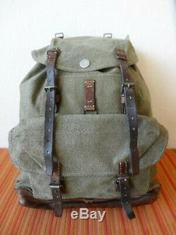 Swiss Army Military Backpack Rucksack 1952 CH Canvas Salt & Pepper