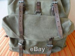Swiss Army Military Backpack Rucksack 1957 CH Canvas Salt & Pepper