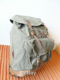 Swiss Army Military Backpack Rucksack 1957 CH Canvas Salt & Pepper Switzerland