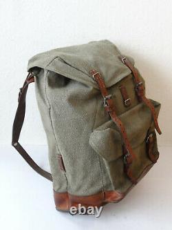Swiss Army Military Backpack Rucksack 1971 CH Canvas Salt & Pepper Switzerland