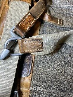 Swiss Army Sattler Backpack 1943 Vtg Salt and Pepper Military Leather Canvas 40s