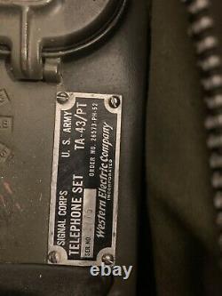 US Army Field Telephone Set TA-312/PT TA- 43 Vintage Military Radio phones