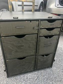 US Military Mobile Field Desk Army Trunk Surplus Storage Cabinet Table USGI
