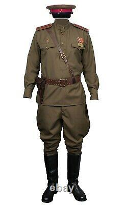 USSR Soviet Khaki military Uniform Officer Red Army Gimnasterka, Breeches RKKA