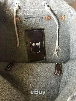 VTG Swiss Army Military Backpack Bag rucksack Salt And Pepper Leather 60s 70s