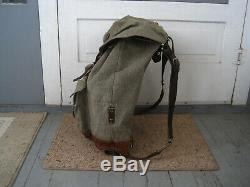 Vintage 1959 Swiss Army Military Canvas & Leather Rucksack Backpack
