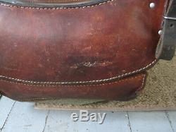 Vintage 1968 Swiss Army Military Canvas & Leather Rucksack Backpack