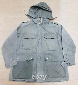Vintage 70s Swiss Army Full Zip Hooded Field Military Parka Jacket Green 56 #4