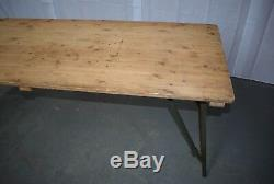 Vintage British Army Military Wooden Trestle Folding Table and Bench Set
