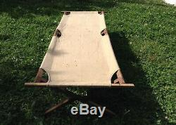 Vintage French Army Military Hospital Wood & Canvas Camp Bed Cot