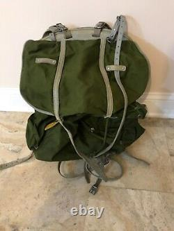 Vintage Mid Century Norwegian Army Military Framed Canvas Leather Backpack
