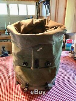Vintage SWISS ARMY Military Leather Salt & Pepper BACKPACK