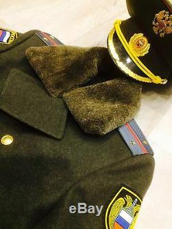 Vintage Soviet Russian military army and police uniform coat (50 L) + cap
