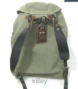 Vintage Swiss Army Military Backpack Rucksack Salt Pepper Leather Canvas Bag 54