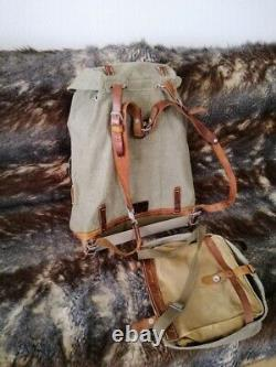 Vintage Swiss Army Military Mountain Backpack and BAG Leather Canvas Salt Pepper
