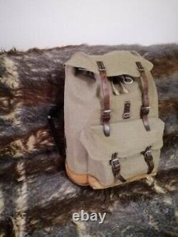 Vintage Swiss Army Military Mountain Pioneer Backpack Salt Pepper Leather Canvas