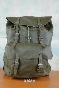 Vintage Swiss Army Rubberized Military Backpack Leather Bottom and Straps 1980