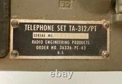 Vintage Vietnam Military Radio Phone US Army Field Telephone Set TA-312/PT + Bag