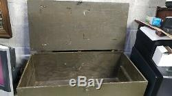 Vintage WOOD FOOT LOCKER Military US Army Trunk Chest WWII