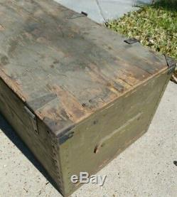 Vintage WOOD FOOT LOCKER Military US Army Trunk Chest WWII Camp Swift, Texas