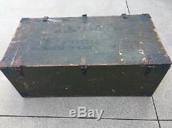 Vintage WOOD FOOT LOCKER Military US Army Trunk Chest WWII w Tray 1st Lieutenant