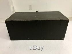 Vintage WOOD FOOT LOCKER w Tray military US army trunk chest Green storage box 5