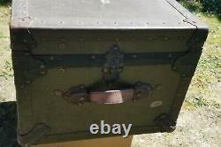 Vintage WW2 Military Metal FOOT LOCKER Military Trunk Chest Veteran Army 1940
