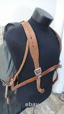Vintage WWII Swedish Army Military Framed Canvas Leather Backpack Ruck 3 Crown