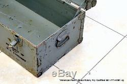Vintage Wood & Metal Military US Army Navy Chest Box Footlocker Trunk Circa WWII