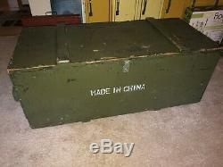 Vintage Wood Rifle Crate Military US Army Trunk Chest Green