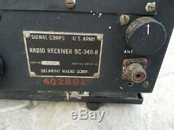 Vintage Wwii Military Us Army Signal Corp Radio Receiver Bc-348-r
