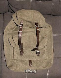 Vintage swiss army military backpack rucksack