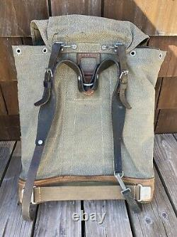 Vtg 1968 SWISS ARMY Salt & Pepper Canvas Leather Backpack Military Rucksack Pack