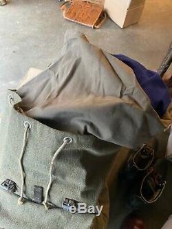 Vtg'60s SWISS ARMY Salt & Pepper Canvas Leather Backpack Military Rucksack Pack